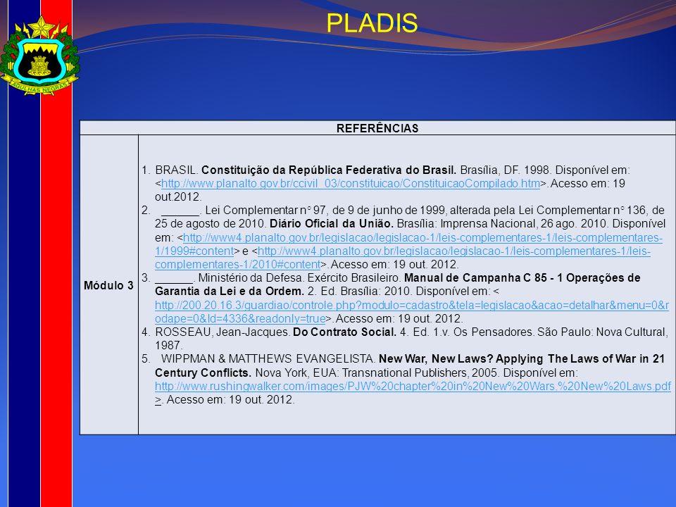 REFERÊNCIAS Módulo 3 1.BRASIL. Constituição da República Federativa do Brasil. Brasília, DF. 1998. Disponível em:. Acesso em: 19 out.2012.http://www.p