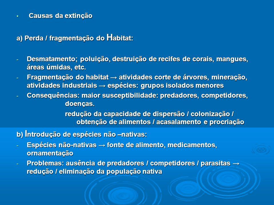 Causas da extinção Causas da extinção a) Perda / fragmentação do H abitat: - Desmatamento; poluição, destruição de recifes de corais, mangues, áreas úmidas, etc.