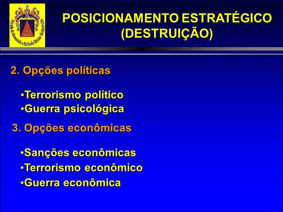 POSICIONAMENTO ESTRATÉGICO (DESTRUIÇÃO) 2. Opções políticas Terrorismo político Terrorismo político Guerra psicológica Guerra psicológica 3. Opções ec