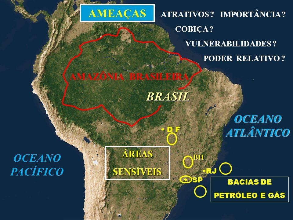 BRASIL OCEANO PACÍFICO OCEANO ATLÂNTICO RJ SP D F BACIAS DE PETRÓLEO E GÁS ÁREAS SENSÍVEIS BH AMEAÇAS AMAZÔNIA BRASILEIRA ATRATIVOS ? IMPORTÂNCIA ? CO
