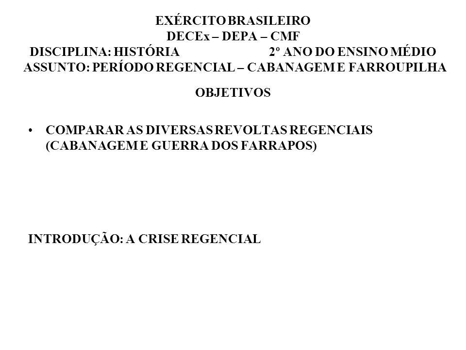 EXÉRCITO BRASILEIRO DECEx – DEPA – CMF DISCIPLINA: HISTÓRIA 2º ANO DO ENSINO MÉDIO ASSUNTO: PERÍODO REGENCIAL – CABANAGEM E FARROUPILHA OBJETIVOS COMP