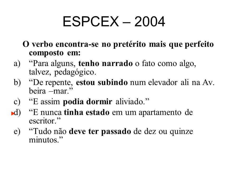 ESPCEX – 2004 O verbo encontra-se no pretérito mais que perfeito composto em: a)Para alguns, tenho narrado o fato como algo, talvez, pedagógico. b)De