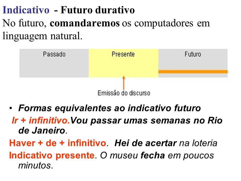 Indicativo - Futuro durativo No futuro, comandaremos os computadores em linguagem natural. Formas equivalentes ao indicativo futuro Ir + infinitivo.Vo