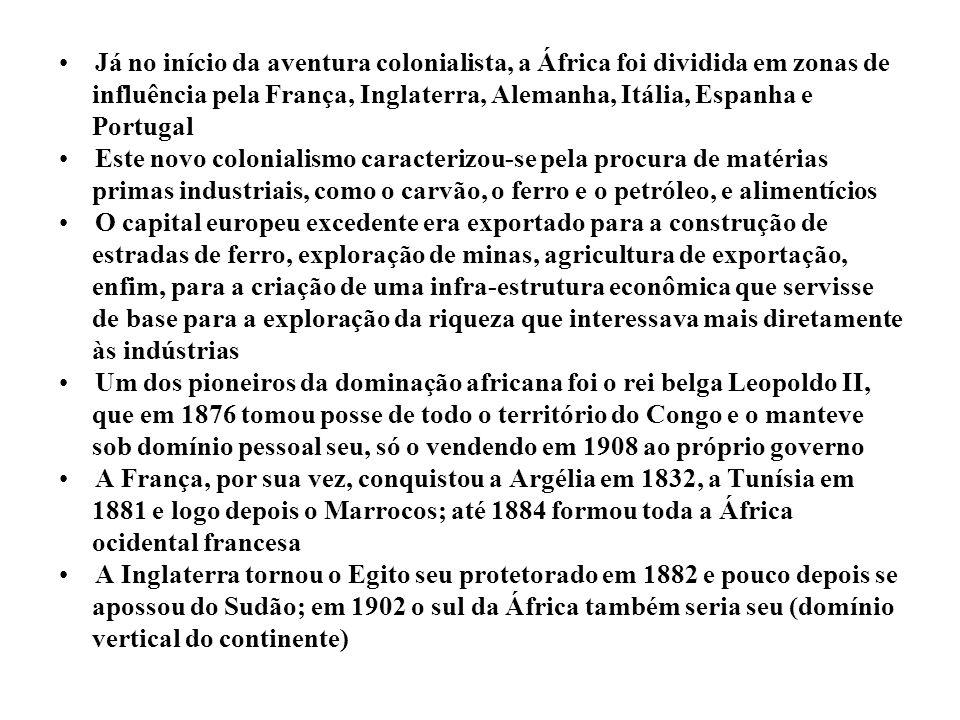 A Alemanha ocupou Camarões, Togo e a África oriental alemã A Itália se apossou da Eritreia, da Somália e da Líbia Portugal e Espanha mantiveram seus antigos domínios coloniais Em 1885, 14 países europeus, além da Rússia e dos Estados Unidos, celebraram um acordo na Conferência de Berlim, estipulando as fronteiras coloniais e as normas a serem seguidas pelas potências no que se convencionou chamar a partilha da África Imposição da plantation, ou seja, latifúndios visando o mercado externo Lanças e escudos X granadas, fuzis, canhões e metralhadoras Guerra dos Bôeres (l889 – l902) – Inglaterra X Holanda – origem do Apartheid No início do século XX, apenas a Libéria, habitada por negros emigrados dos Estados Unidos e a Abissínia (atual Etiópia) eram estados africanos livres Até o Canal de Suez deixou de ser egípcio, passando para o domínio inglês e francês CONCLUSÃO: Para a Alemanha, a guerra não é apenas inevitável, ela é necessária – Kaiser Guilherme II