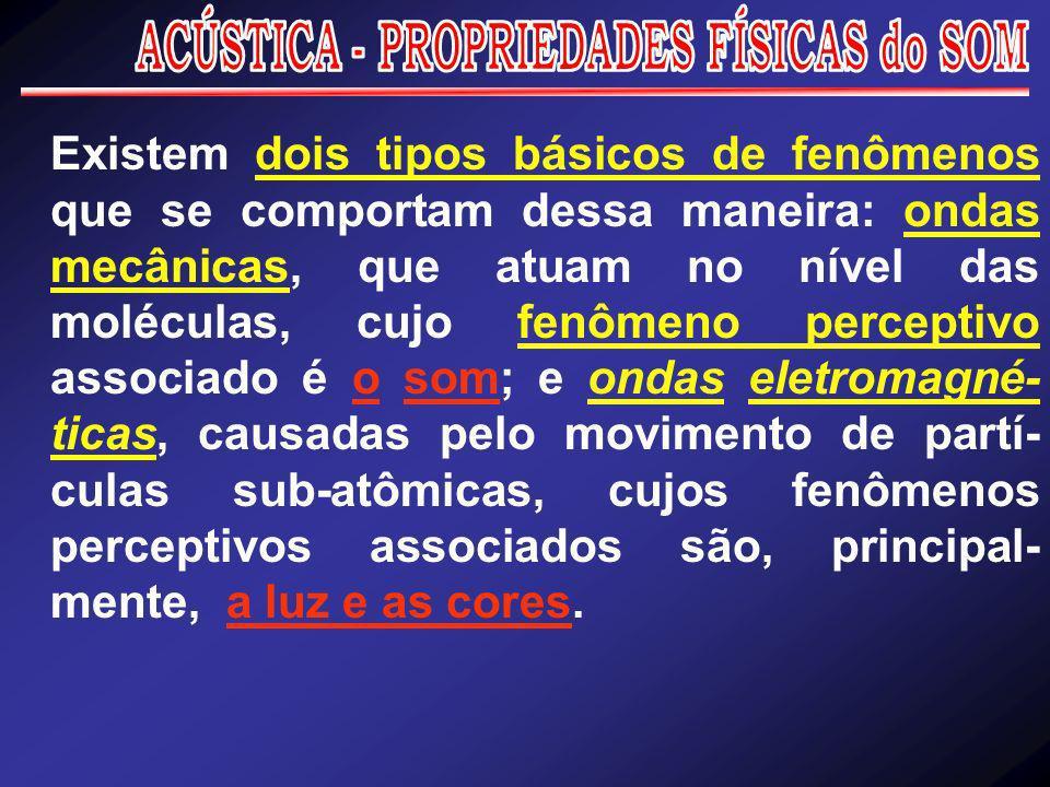 Existem dois tipos básicos de fenômenos que se comportam dessa maneira: ondas mecânicas, que atuam no nível das moléculas, cujo fenômeno perceptivo as