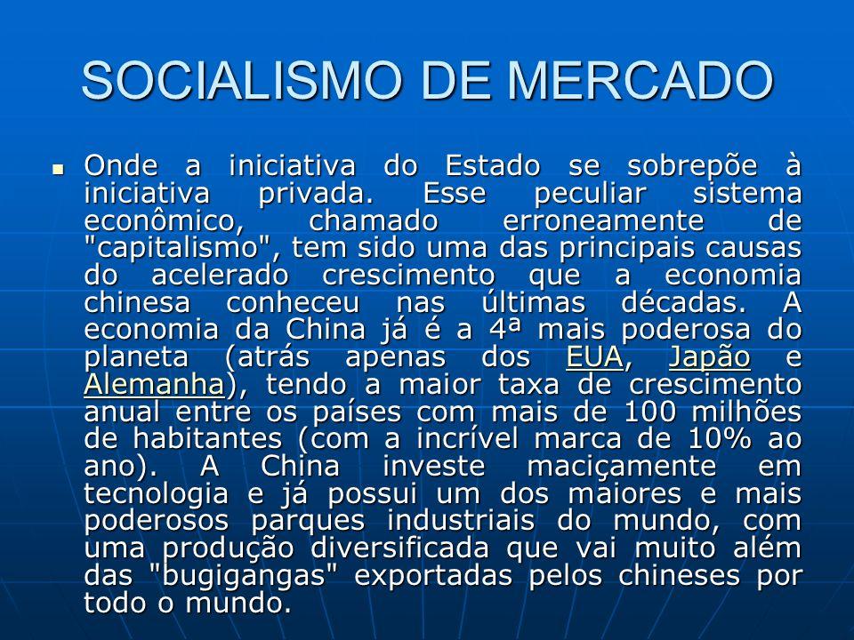 SOCIALISMO DE MERCADO Onde a iniciativa do Estado se sobrepõe à iniciativa privada. Esse peculiar sistema econômico, chamado erroneamente de