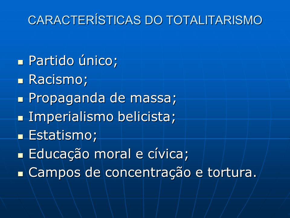 CARACTERÍSTICAS DO TOTALITARISMO Partido único; Partido único; Racismo; Racismo; Propaganda de massa; Propaganda de massa; Imperialismo belicista; Imp