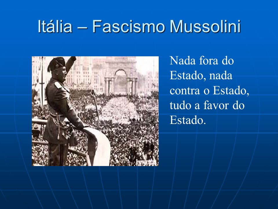 Itália – Fascismo Mussolini Nada fora do Estado, nada contra o Estado, tudo a favor do Estado.