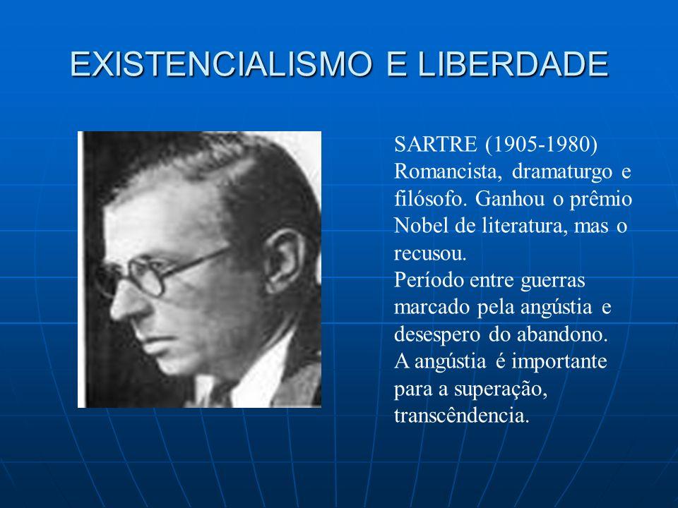 SARTRE (1905-1980) Romancista, dramaturgo e filósofo. Ganhou o prêmio Nobel de literatura, mas o recusou. Período entre guerras marcado pela angústia