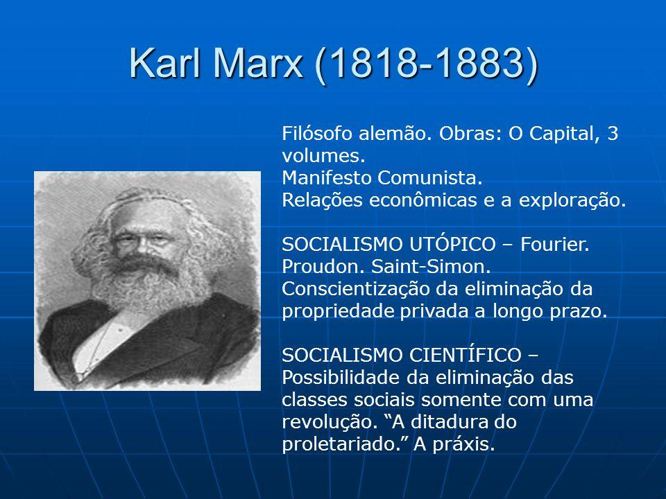 Karl Marx (1818-1883) Filósofo alemão. Obras: O Capital, 3 volumes. Manifesto Comunista. Relações econômicas e a exploração. SOCIALISMO UTÓPICO – Four