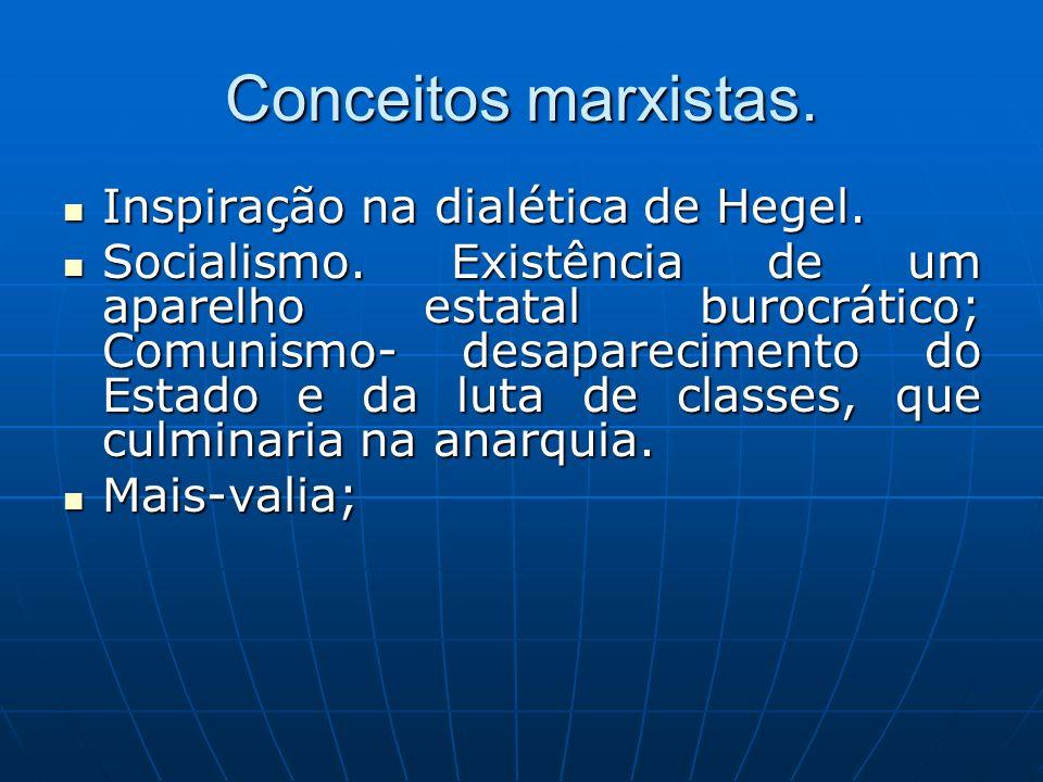 Conceitos marxistas. Inspiração na dialética de Hegel. Inspiração na dialética de Hegel. Socialismo. Existência de um aparelho estatal burocrático; Co
