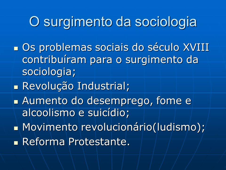 O surgimento da sociologia Os problemas sociais do século XVIII contribuíram para o surgimento da sociologia; Os problemas sociais do século XVIII con