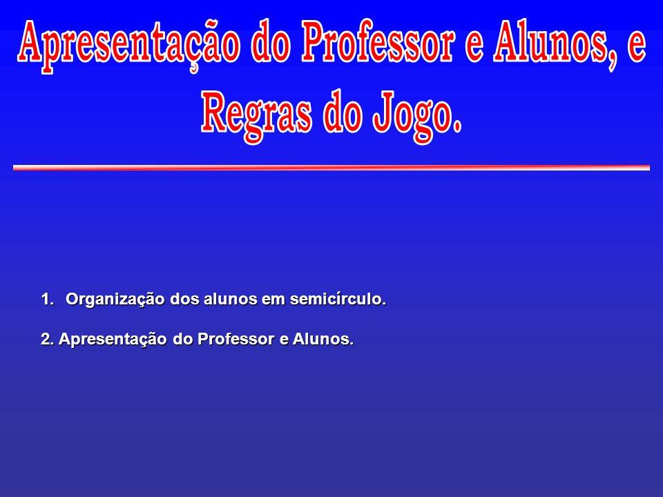 1.Organização dos alunos em semicírculo. 2. Apresentação do Professor e Alunos.
