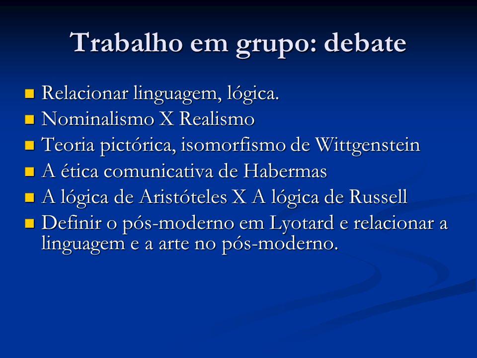 Trabalho em grupo: debate Relacionar linguagem, lógica. Relacionar linguagem, lógica. Nominalismo X Realismo Nominalismo X Realismo Teoria pictórica,