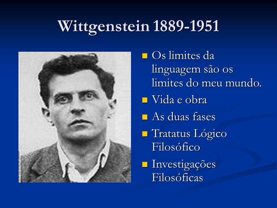 Wittgenstein 1889-1951 Os limites da linguagem são os limites do meu mundo. Os limites da linguagem são os limites do meu mundo. Vida e obra Vida e ob