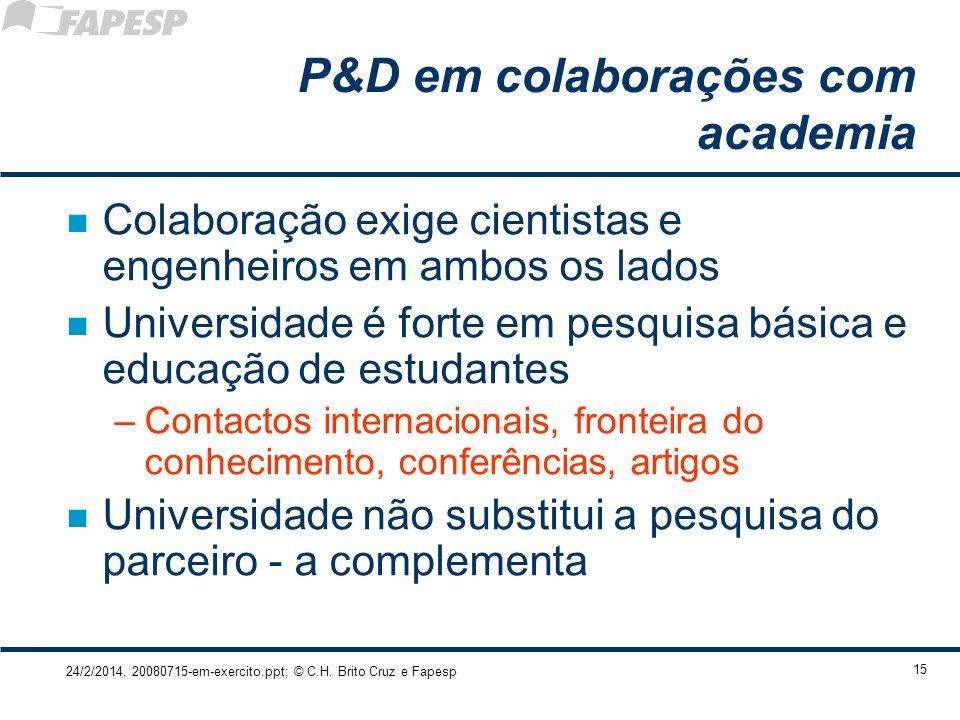 24/2/2014, 20080715-em-exercito.ppt; © C.H. Brito Cruz e Fapesp 15 P&D em colaborações com academia n Colaboração exige cientistas e engenheiros em am