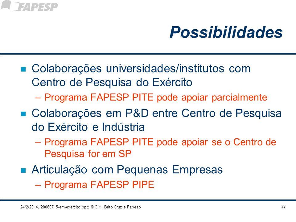 24/2/2014, 20080715-em-exercito.ppt; © C.H. Brito Cruz e Fapesp 27 Possibilidades n Colaborações universidades/institutos com Centro de Pesquisa do Ex