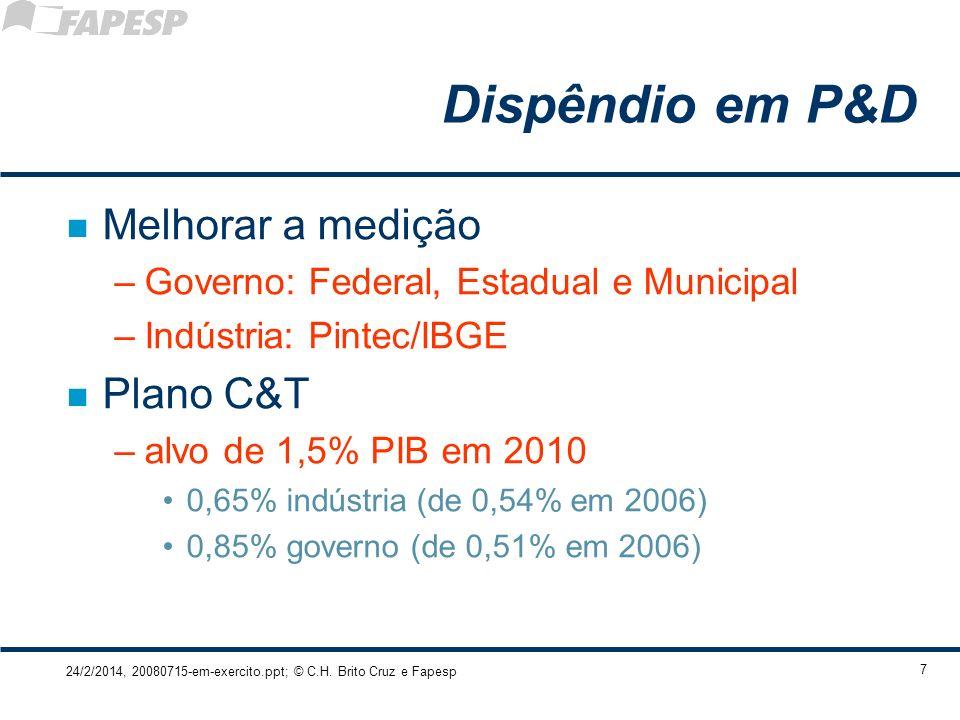 24/2/2014, 20080715-em-exercito.ppt; © C.H. Brito Cruz e Fapesp 7 Dispêndio em P&D n Melhorar a medição –Governo: Federal, Estadual e Municipal –Indús