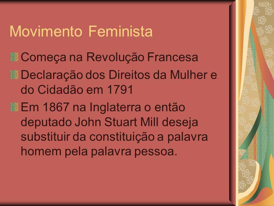 Movimento Feminista Começa na Revolução Francesa Declaração dos Direitos da Mulher e do Cidadão em 1791 Em 1867 na Inglaterra o então deputado John Stuart Mill deseja substituir da constituição a palavra homem pela palavra pessoa.