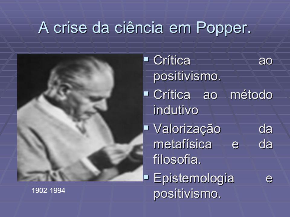 A crise da ciência em Popper. Crítica ao positivismo.