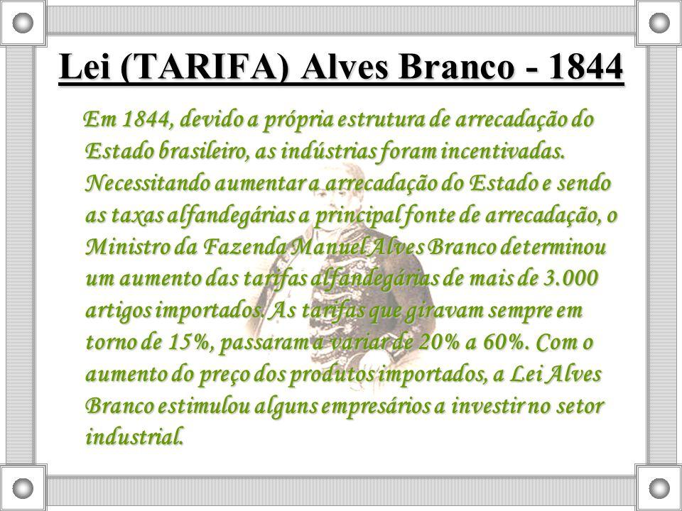 Lei (TARIFA) Alves Branco - 1844 Em 1844, devido a própria estrutura de arrecadação do Estado brasileiro, as indústrias foram incentivadas. Necessitan