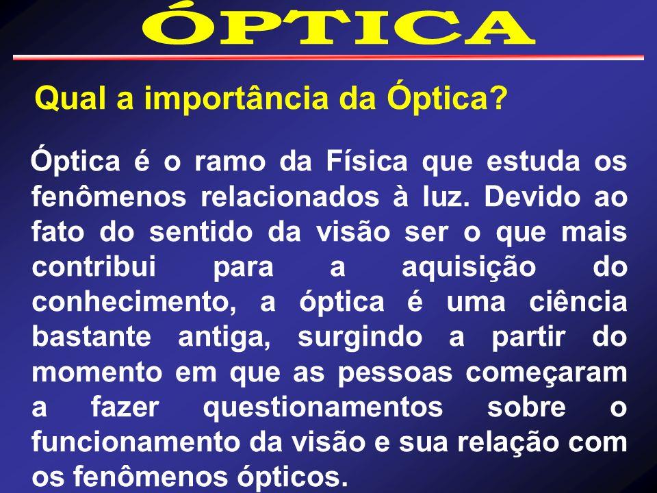 Qual a importância da Óptica? Óptica é o ramo da Física que estuda os fenômenos relacionados à luz. Devido ao fato do sentido da visão ser o que mais
