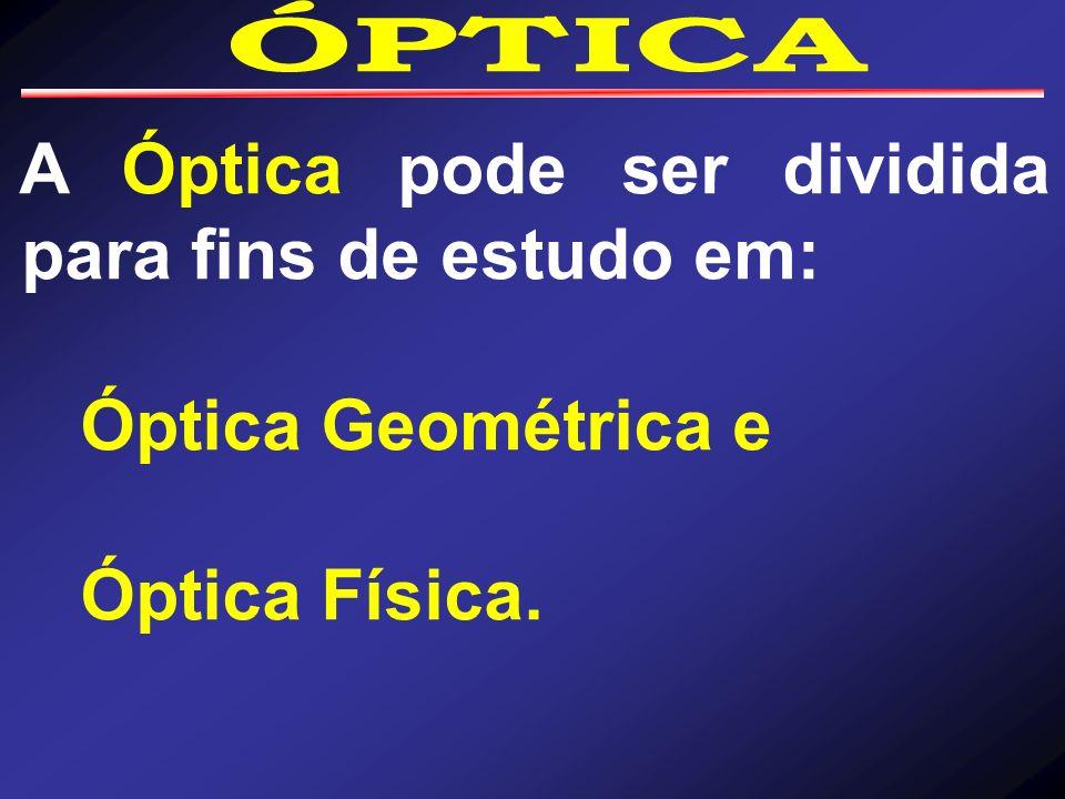 Óptica geométrica - estuda a trajetória da propagação da luz, considerando-a como um feixe, sem se preocupar com a natureza da luz.