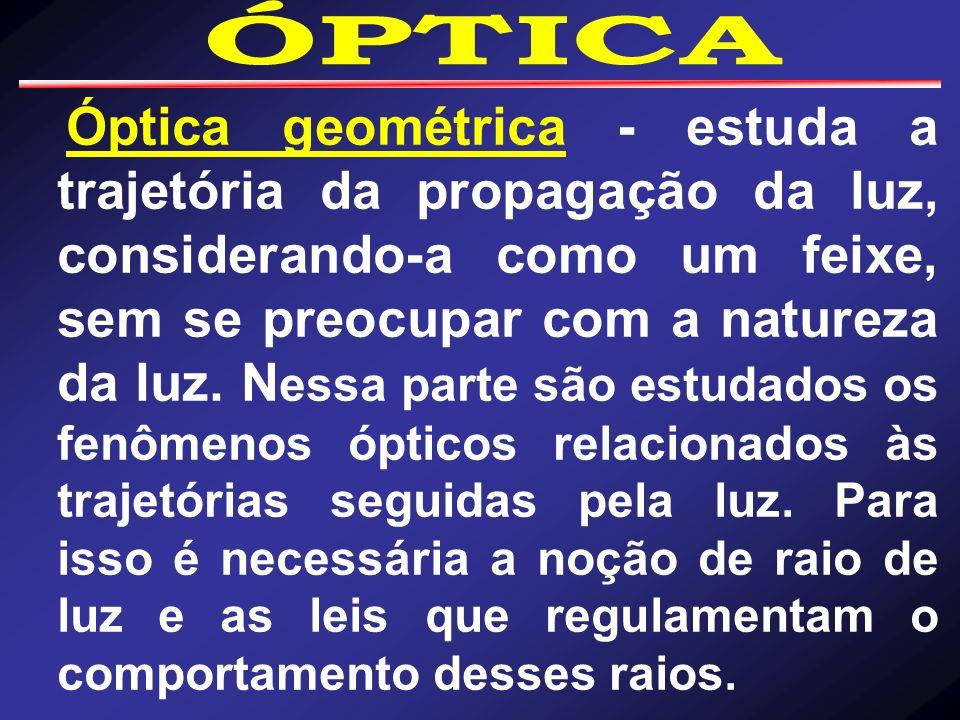 Óptica geométrica - estuda a trajetória da propagação da luz, considerando-a como um feixe, sem se preocupar com a natureza da luz. N essa parte são e