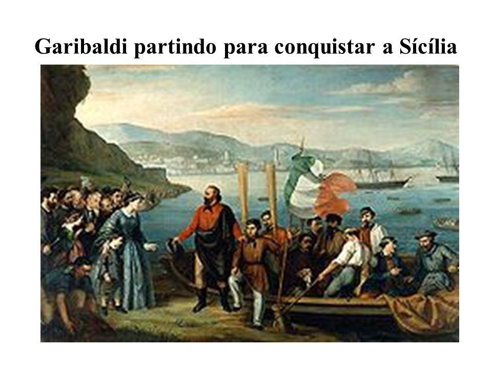 Garibaldi partindo para conquistar a Sícília