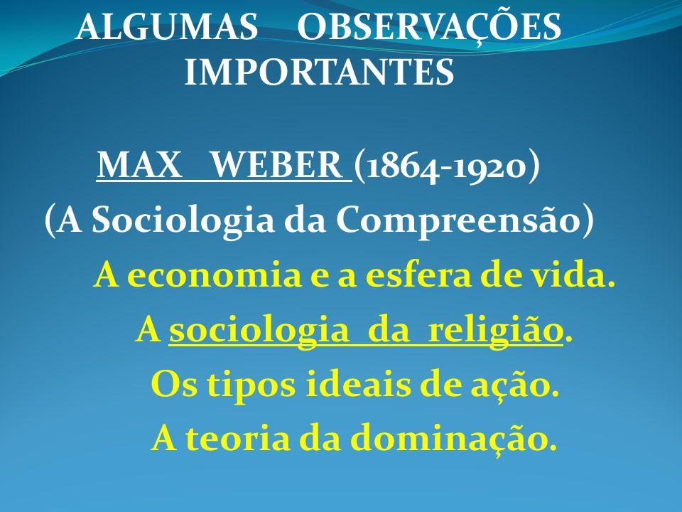 ALGUMAS OBSERVAÇÕES IMPORTANTES MAX WEBER (1864-1920) (A Sociologia da Compreensão) A economia e a esfera de vida. A sociologia da religião. Os tipos