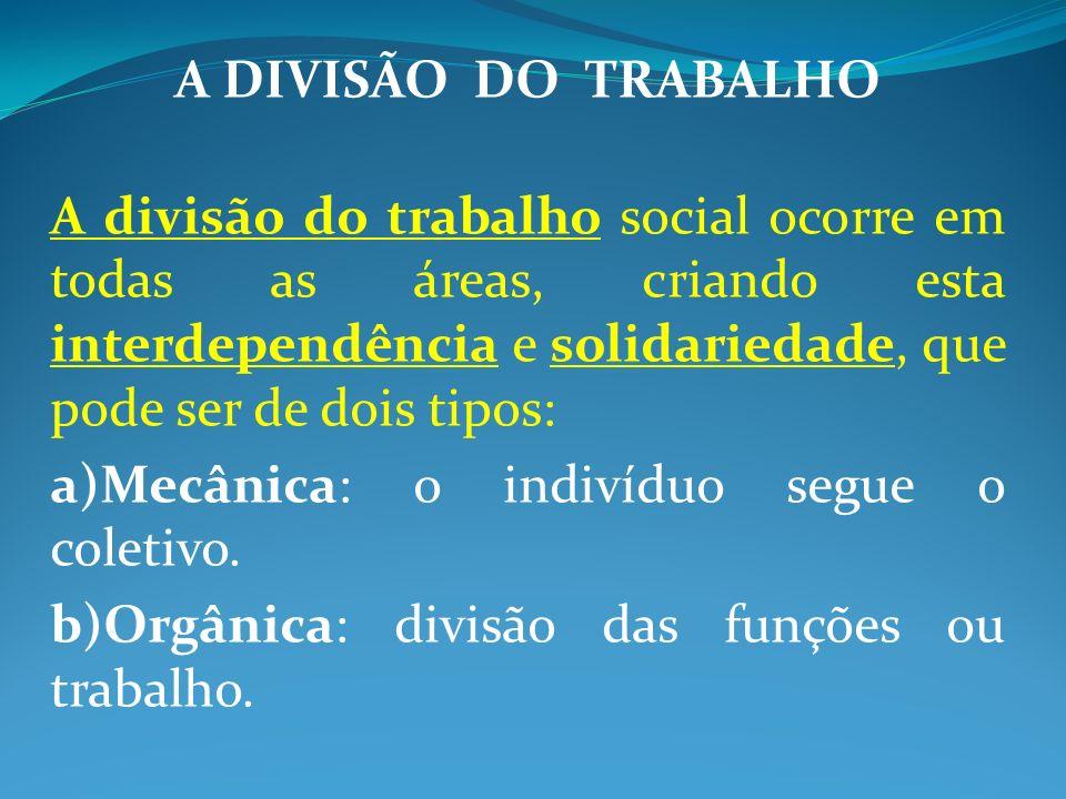 A DIVISÃO DO TRABALHO A divisão do trabalho social ocorre em todas as áreas, criando esta interdependência e solidariedade, que pode ser de dois tipos: a)Mecânica: o indivíduo segue o coletivo.