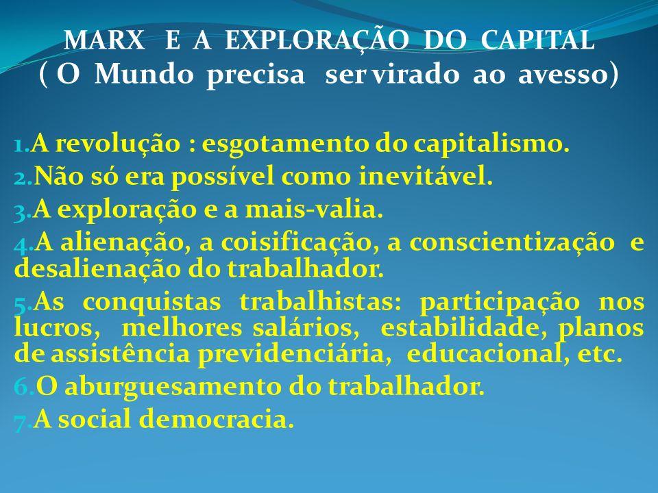MARX E A EXPLORAÇÃO DO CAPITAL ( O Mundo precisa ser virado ao avesso) 1. A revolução : esgotamento do capitalismo. 2. Não só era possível como inevit