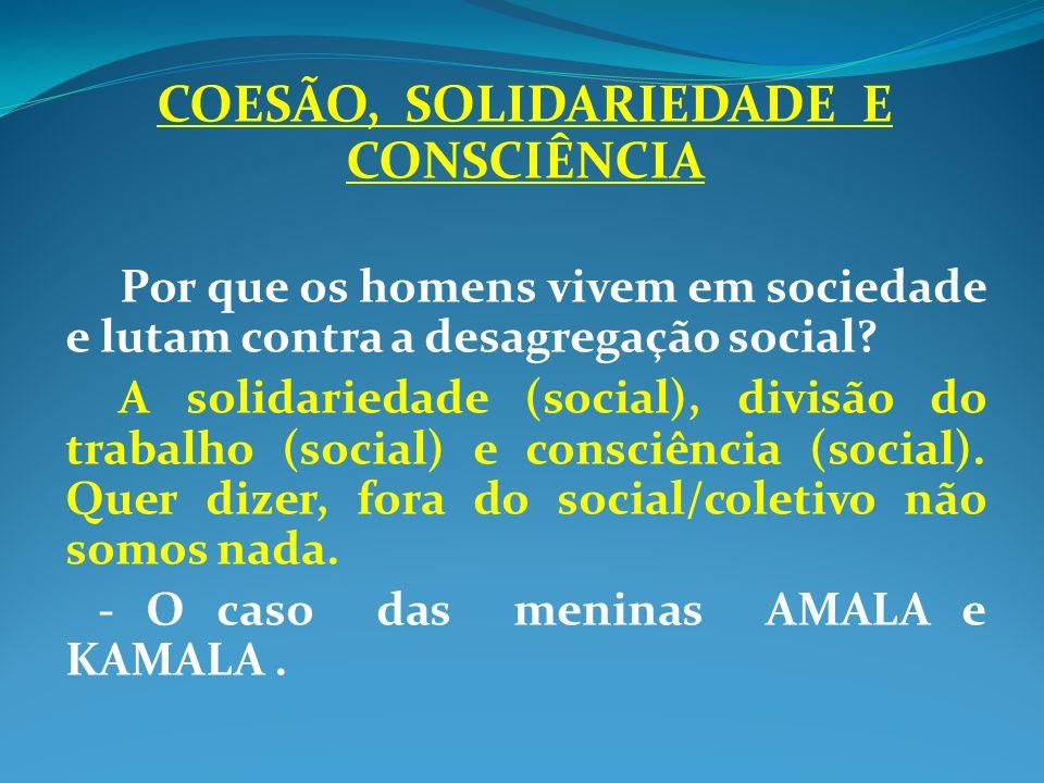 COESÃO, SOLIDARIEDADE E CONSCIÊNCIA Por que os homens vivem em sociedade e lutam contra a desagregação social? A solidariedade (social), divisão do tr