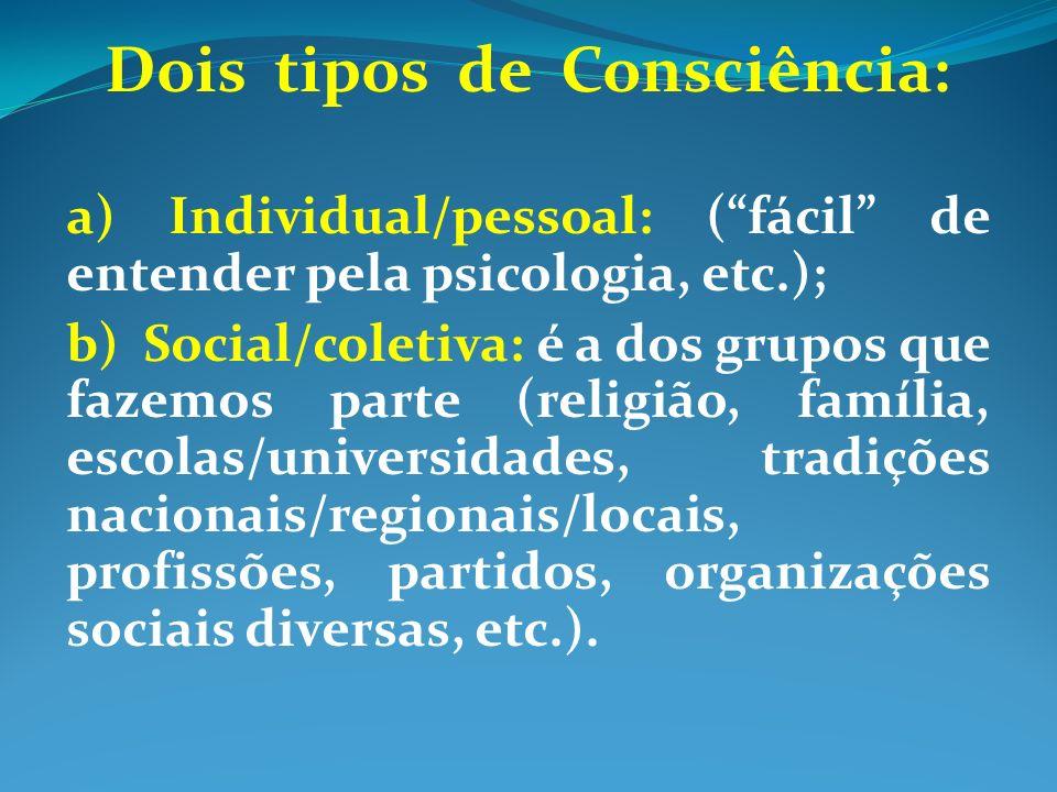 Dois tipos de Consciência: a) Individual/pessoal: (fácil de entender pela psicologia, etc.); b) Social/coletiva: é a dos grupos que fazemos parte (religião, família, escolas/universidades, tradições nacionais/regionais/locais, profissões, partidos, organizações sociais diversas, etc.).