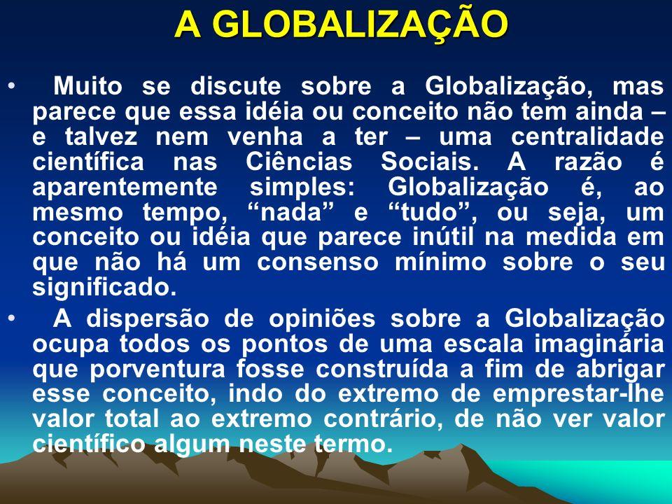 A primeira coisa importante é discutir se é possível ter um conjunto mínimo de idéias sobre o que é a Globalização.