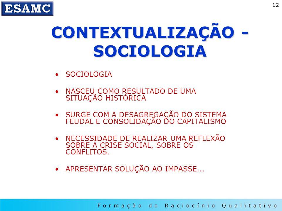 12 CONTEXTUALIZAÇÃO - SOCIOLOGIA SOCIOLOGIA NASCEU COMO RESULTADO DE UMA SITUAÇÃO HISTÓRICA SURGE COM A DESAGREGAÇÃO DO SISTEMA FEUDAL E CONSOLIDAÇÃO