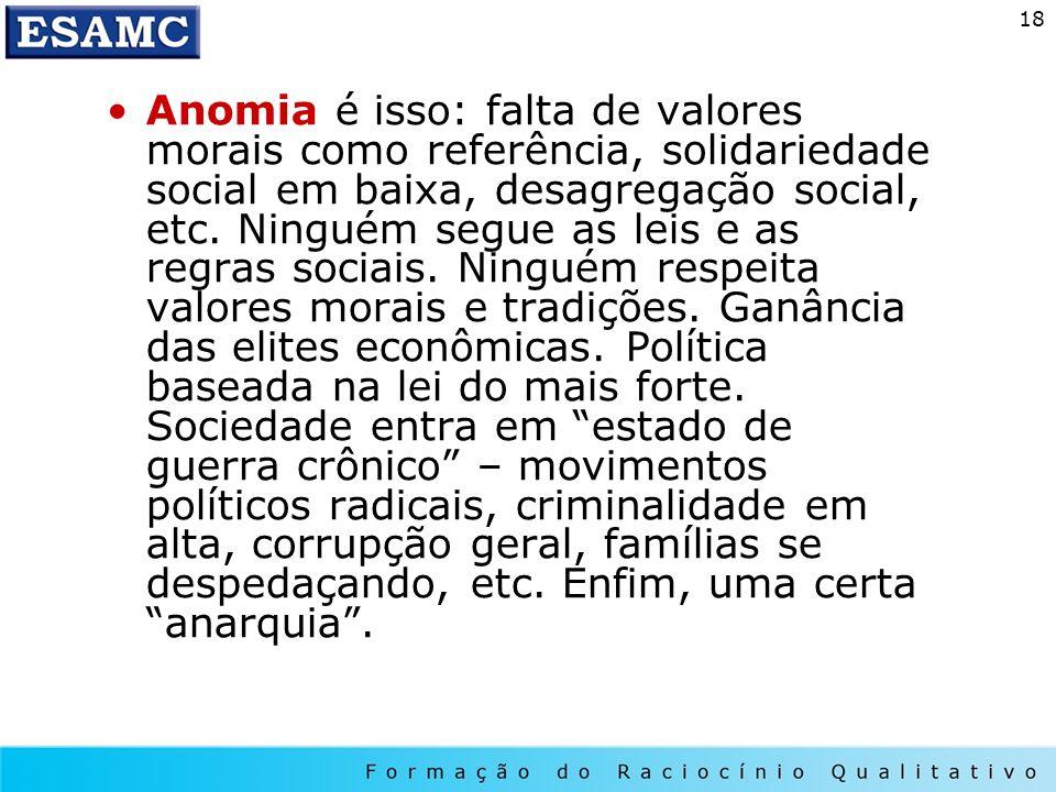 18 Anomia é isso: falta de valores morais como referência, solidariedade social em baixa, desagregação social, etc. Ninguém segue as leis e as regras