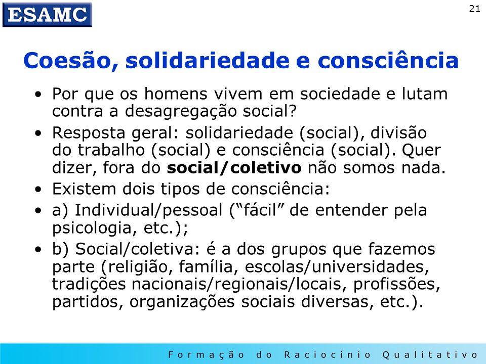 21 Coesão, solidariedade e consciência Por que os homens vivem em sociedade e lutam contra a desagregação social? Resposta geral: solidariedade (socia