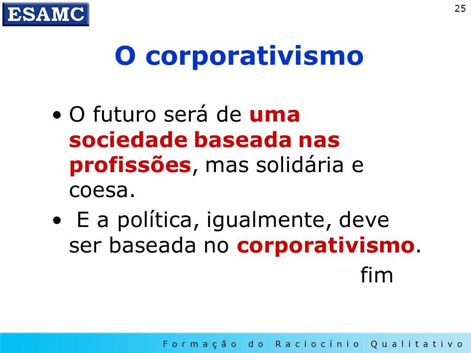 25 O corporativismo O futuro será de uma sociedade baseada nas profissões, mas solidária e coesa. E a política, igualmente, deve ser baseada no corpor