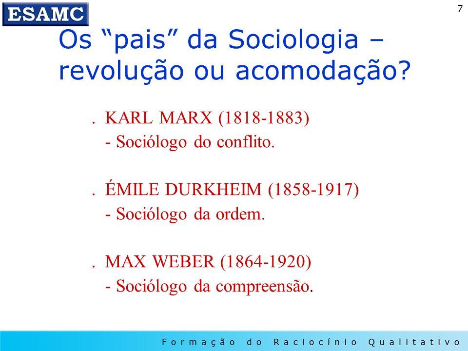7. KARL MARX (1818-1883) - Sociólogo do conflito.. ÉMILE DURKHEIM (1858-1917) - Sociólogo da ordem.. MAX WEBER (1864-1920) - Sociólogo da compreensão.