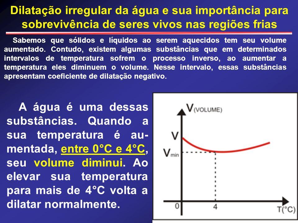 Dilatação irregular da água e sua importância para sobrevivência de seres vivos nas regiões frias Sabemos que sólidos e líquidos ao serem aquecidos te