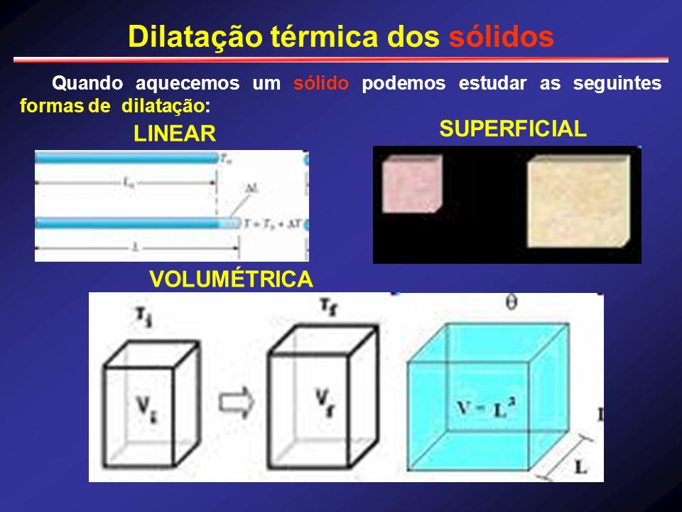 Dilatação térmica dos sólidos Quando aquecemos um sólido podemos estudar as seguintes formas de dilatação: LINEAR SUPERFICIAL VOLUMÉTRICA