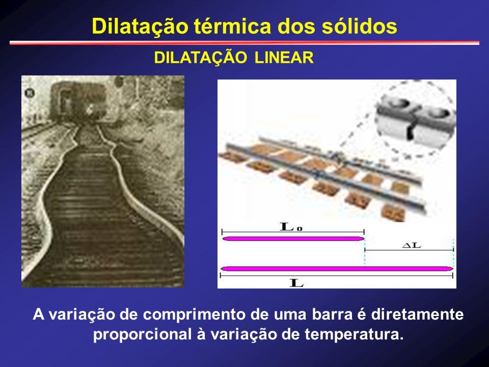 Dilatação térmica dos sólidos DILATAÇÃO LINEAR A variação de comprimento de uma barra é diretamente proporcional à variação de temperatura.