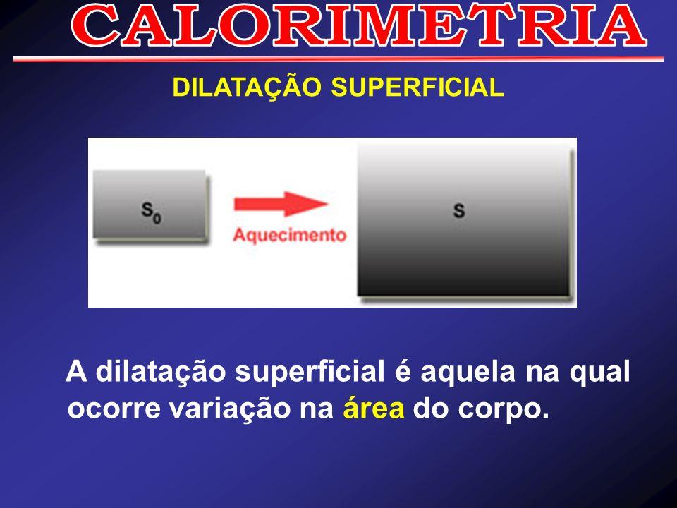 DILATAÇÃO SUPERFICIAL A dilatação superficial é aquela na qual ocorre variação na área do corpo.