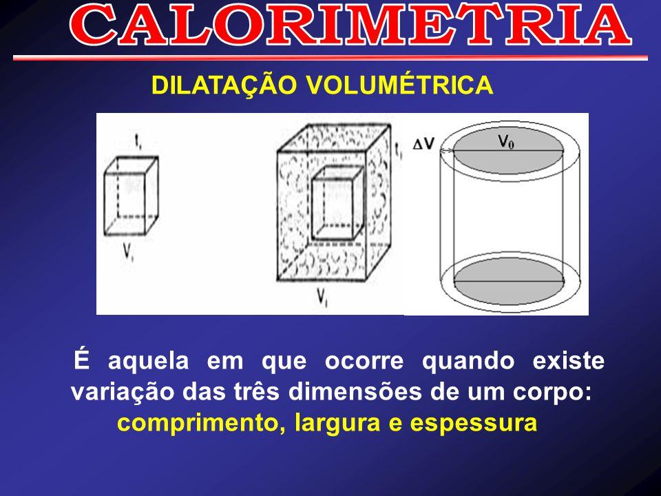 DILATAÇÃO VOLUMÉTRICA É aquela em que ocorre quando existe variação das três dimensões de um corpo: comprimento, largura e espessura