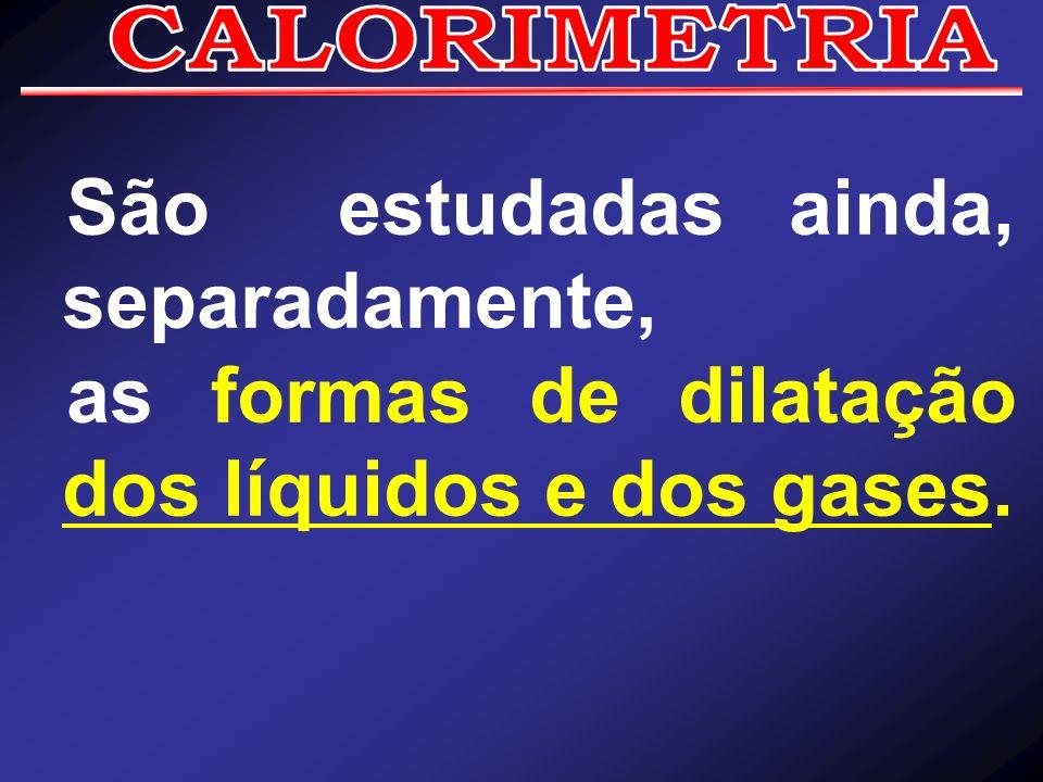 São estudadas ainda, separadamente, as formas de dilatação dos líquidos e dos gases.