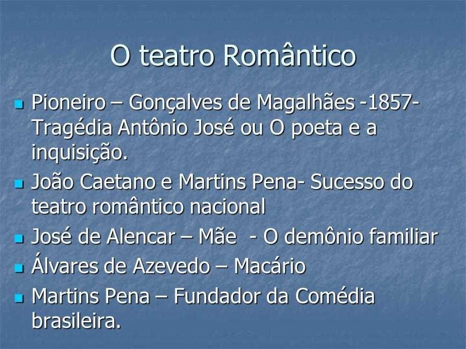 O teatro Romântico Pioneiro – Gonçalves de Magalhães -1857- Tragédia Antônio José ou O poeta e a inquisição. Pioneiro – Gonçalves de Magalhães -1857-
