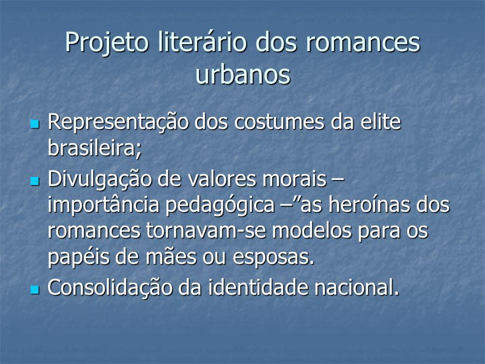 Projeto literário dos romances urbanos Representação dos costumes da elite brasileira; Representação dos costumes da elite brasileira; Divulgação de v