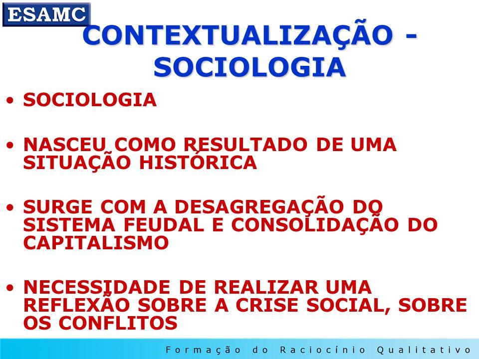 CONTEXTUALIZAÇÃO - SOCIOLOGIA SOCIOLOGIA NASCEU COMO RESULTADO DE UMA SITUAÇÃO HISTÓRICA SURGE COM A DESAGREGAÇÃO DO SISTEMA FEUDAL E CONSOLIDAÇÃO DO