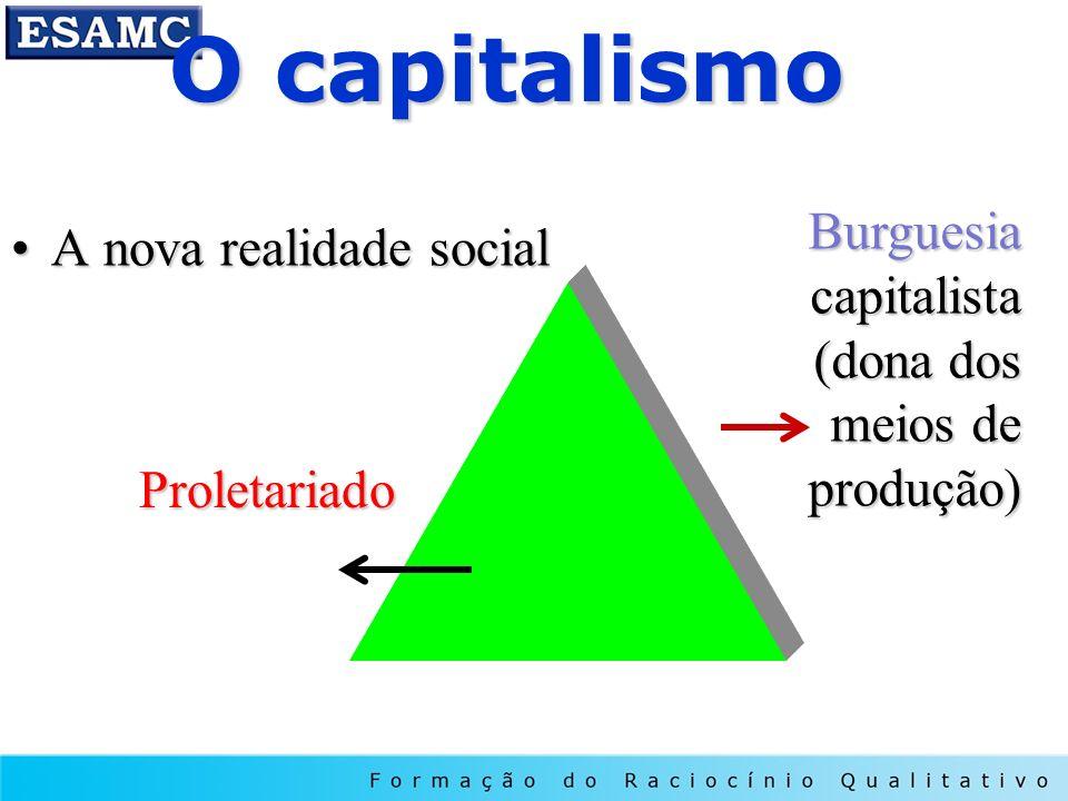 O capitalismo A nova realidade socialA nova realidade social Proletariado Burguesia capitalista (dona dos meios de produção)